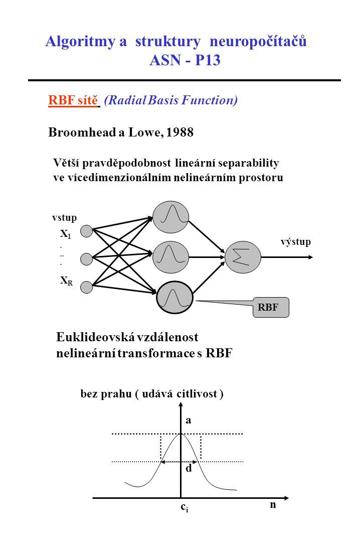 Algoritmy a struktury neuropočítačů ASN - P13 RBF sítě (Radial Basis Function) Broomhead a Lowe, 1988 Větší pravděpodobnost lineární separability ve vícedimenzionálním nelineárním prostoru výstup vstup X 1....