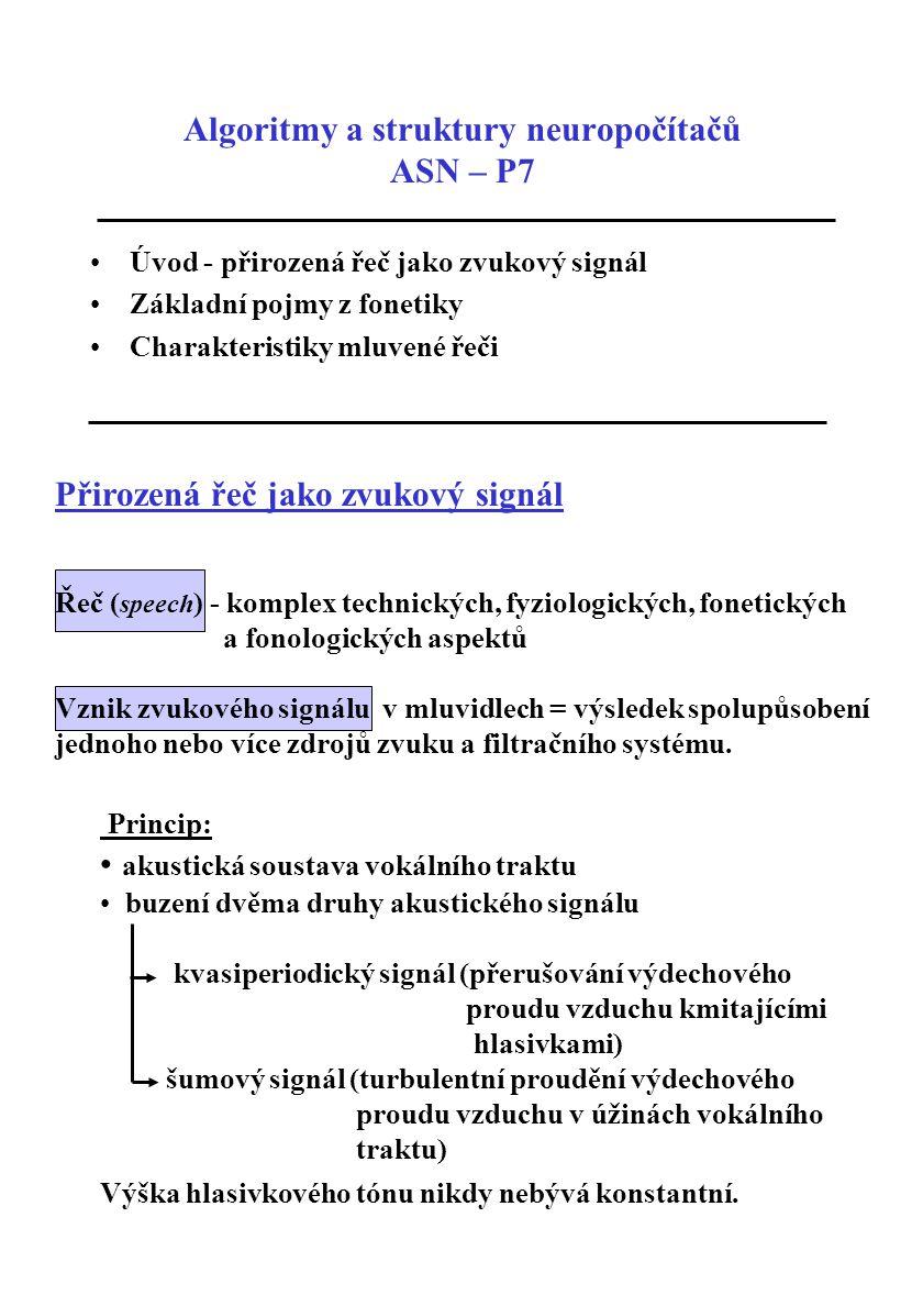 Přirozená řeč jako zvukový signál Řeč ( speech ) - komplex technických, fyziologických, fonetických a fonologických aspektů Vznik zvukového signálu v
