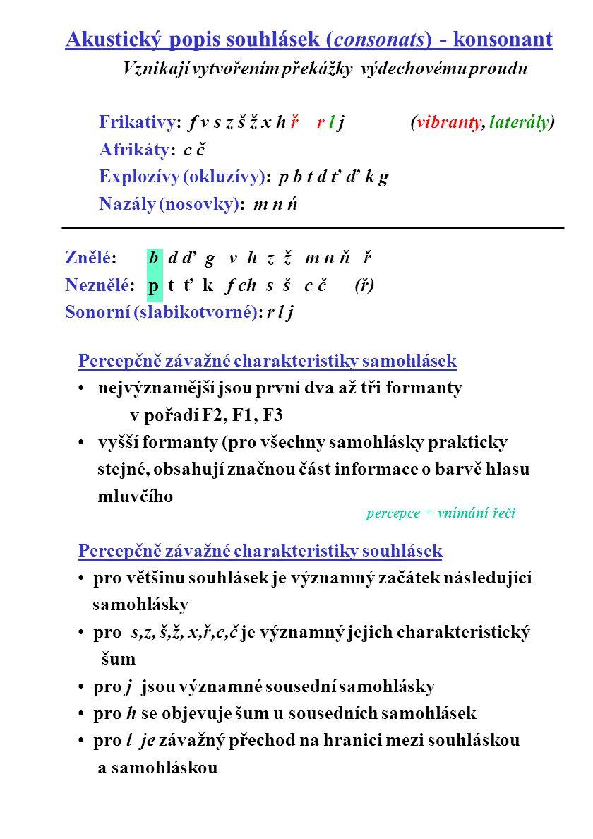 Percepčně závažné charakteristiky samohlásek nejvýznamější jsou první dva až tři formanty v pořadí F2, F1, F3 vyšší formanty (pro všechny samohlásky p