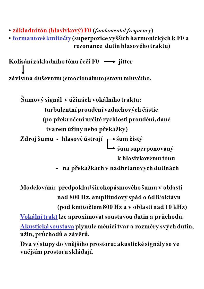 základní tón (hlasivkový) F0 ( fundamental frequency ) formantové kmitočty (superpozice vyšších harmonických k F0 a rezonance dutin hlasového traktu)