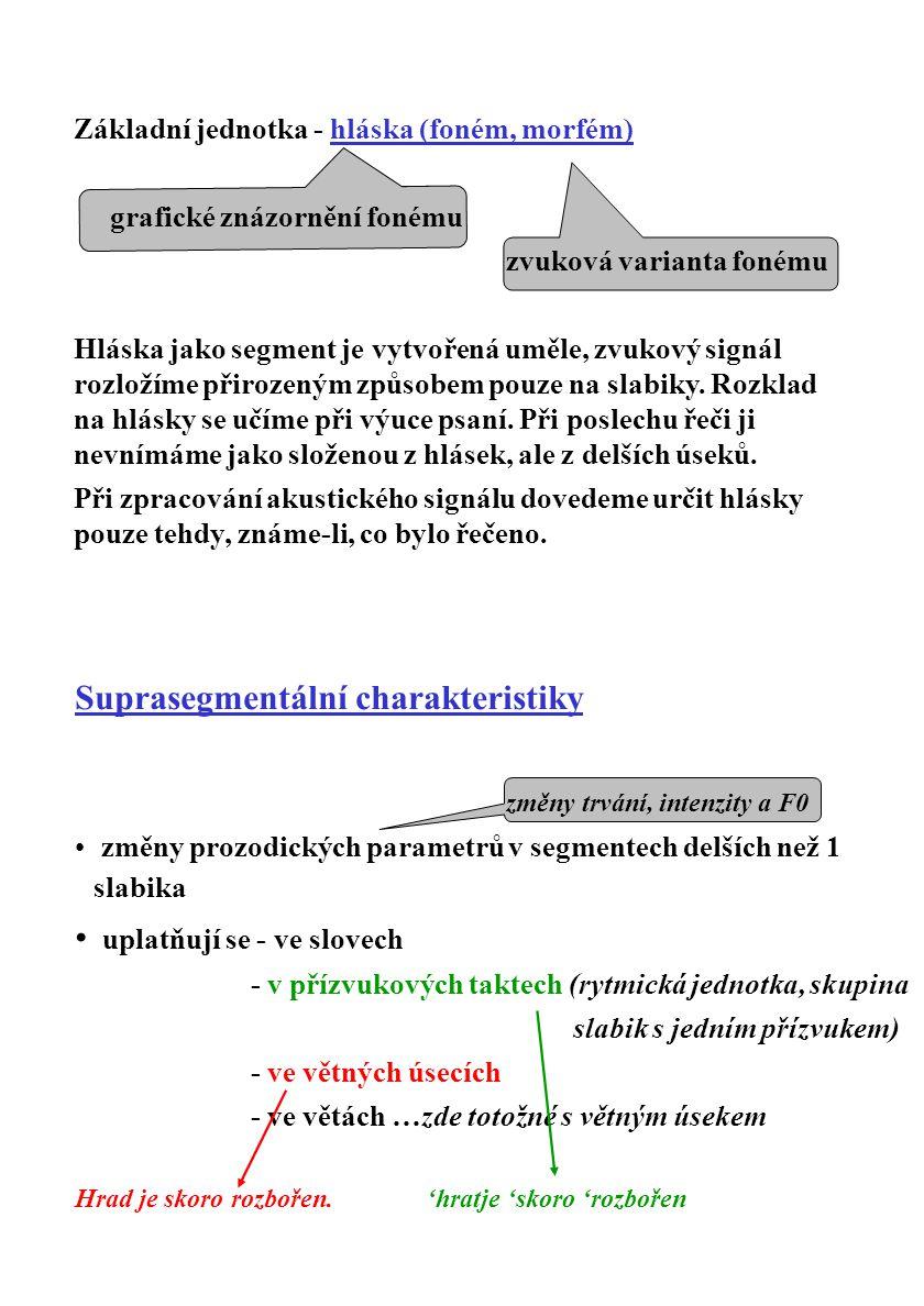 Suprasegmentální charakteristiky změny trvání, intenzity a F0 změny prozodických parametrů v segmentech delších než 1 slabika uplatňují se - ve slovec