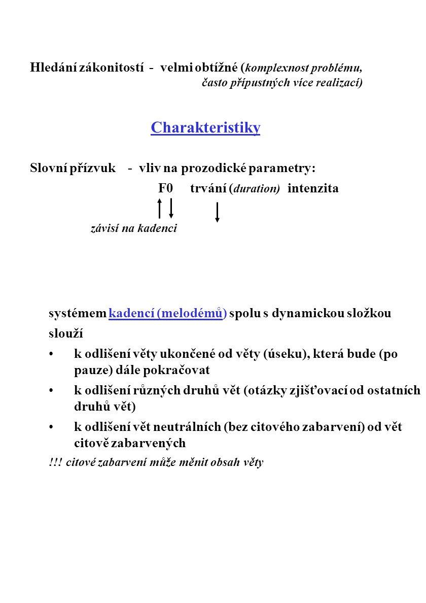 Hledání zákonitostí - velmi obtížné ( komplexnost problému, často přípustných více realizací) Charakteristiky Slovní přízvuk - vliv na prozodické para