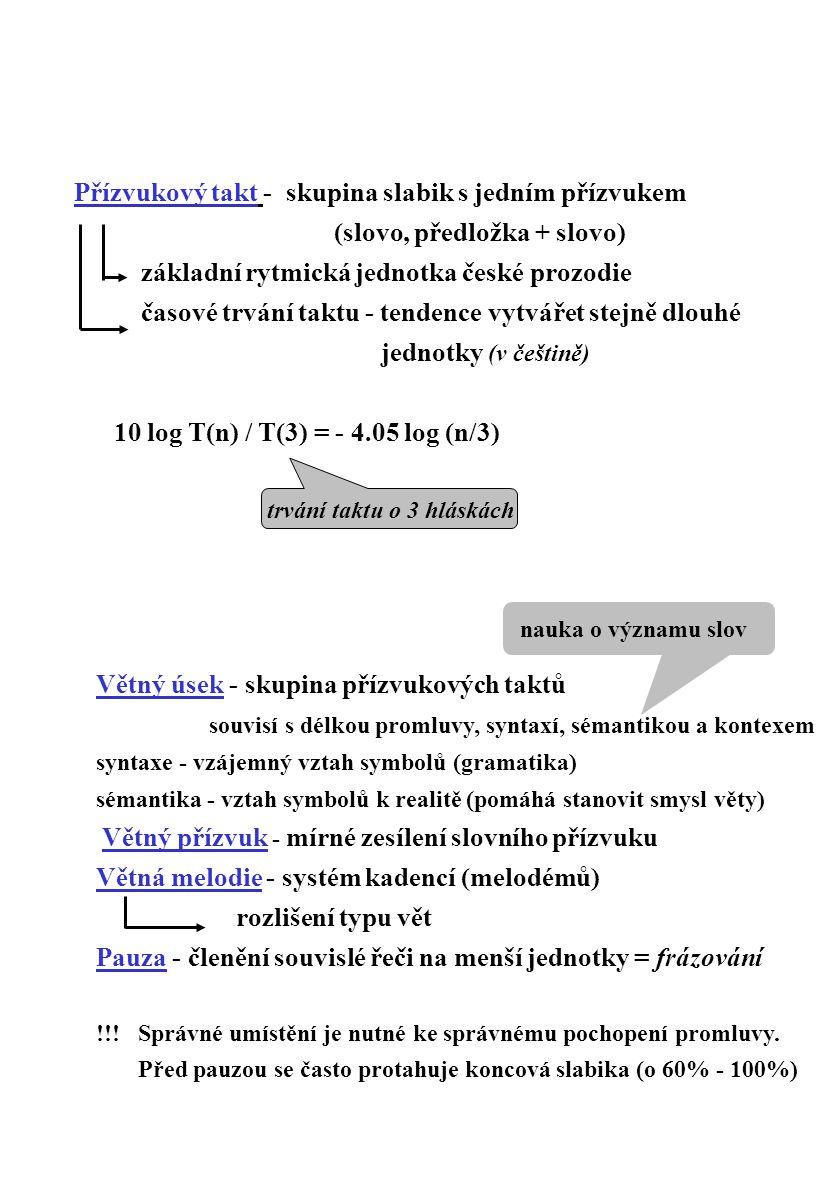 Přízvukový takt - skupina slabik s jedním přízvukem (slovo, předložka + slovo) základní rytmická jednotka české prozodie časové trvání taktu - tendenc