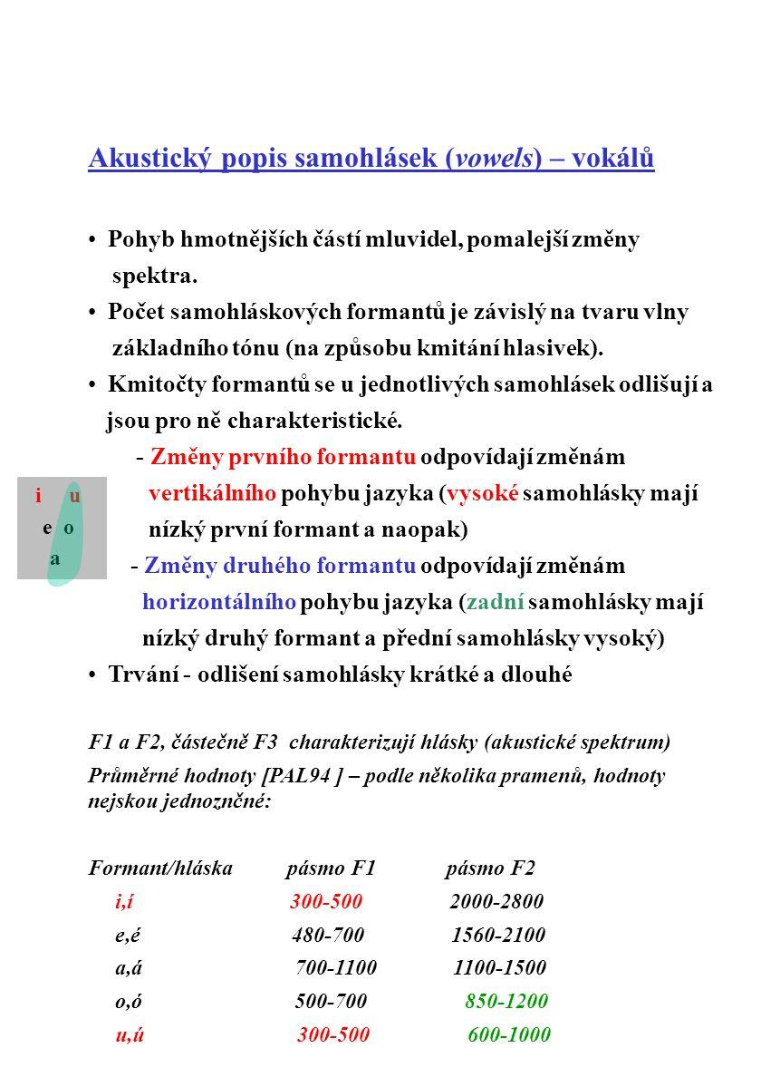 Akustický popis samohlásek (vowels) – vokálů Pohyb hmotnějších částí mluvidel, pomalejší změny spektra. Počet samohláskových formantů je závislý na tv