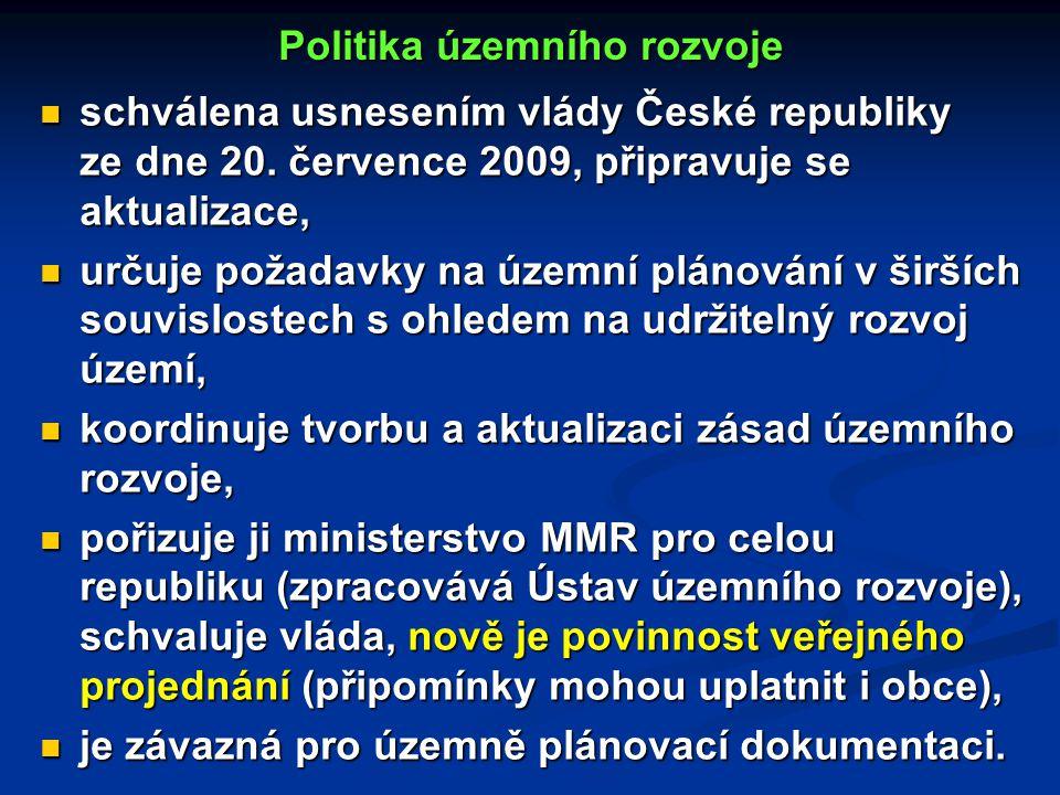 Politika územního rozvoje schválena usnesením vlády České republiky ze dne 20.