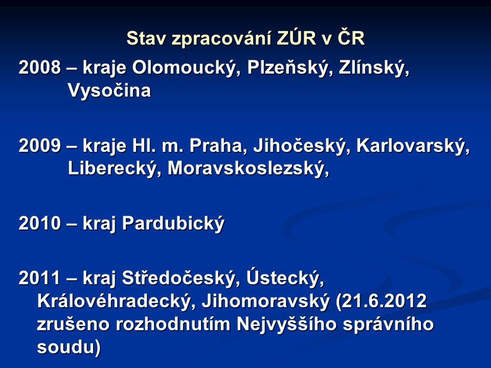 Stav zpracování ZÚR v ČR 2008 – kraje Olomoucký, Plzeňský, Zlínský, Vysočina 2009 – kraje Hl.
