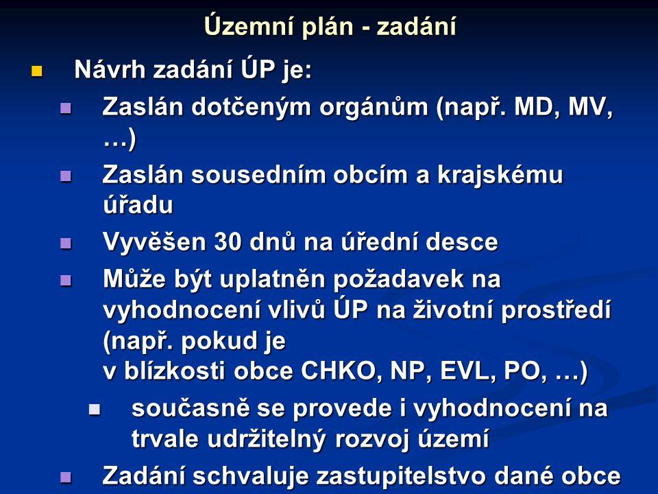 Návrh zadání ÚP je: Návrh zadání ÚP je: Zaslán dotčeným orgánům (např.