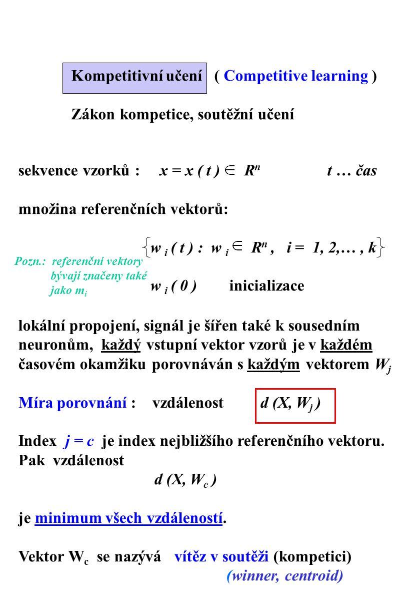 sekvence vzorků : x = x ( t ) R n t … čas množina referenčních vektorů: w i ( t ) : w i R n, i = 1, 2,…, k w i ( 0 ) inicializace Kompetitivní učení (