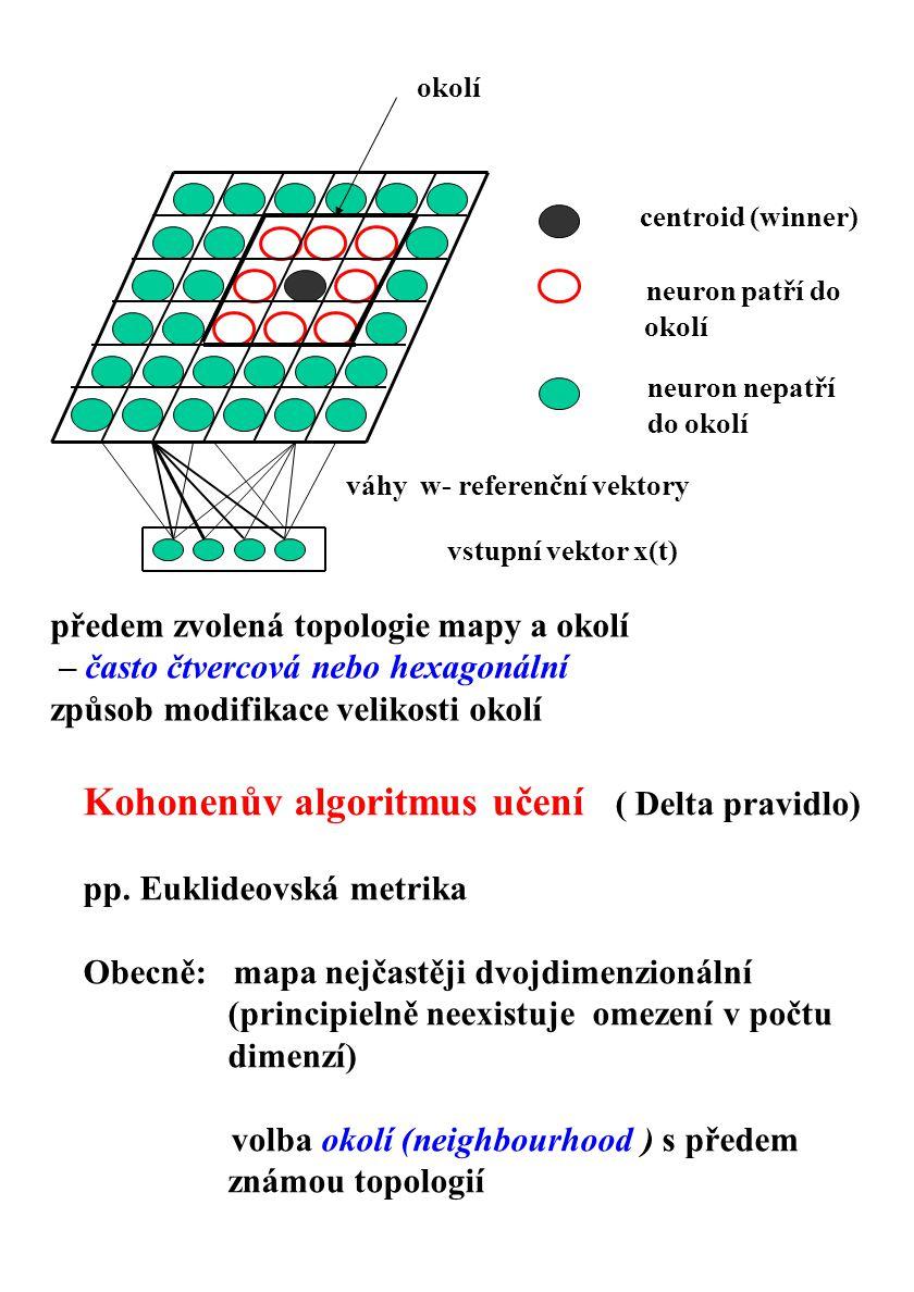 centroid (winner) neuron patří do okolí neuron nepatří do okolí okolí vstupní vektor x(t) váhy w- referenční vektory předem zvolená topologie mapy a o