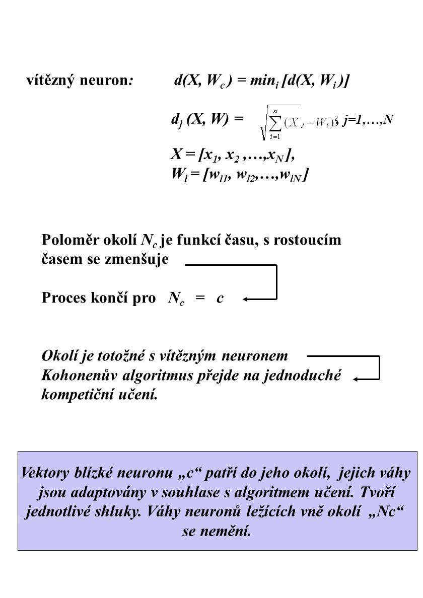 Poloměr okolí N c je funkcí času, s rostoucím časem se zmenšuje Proces končí pro N c = c Okolí je totožné s vítězným neuronem Kohonenův algoritmus pře