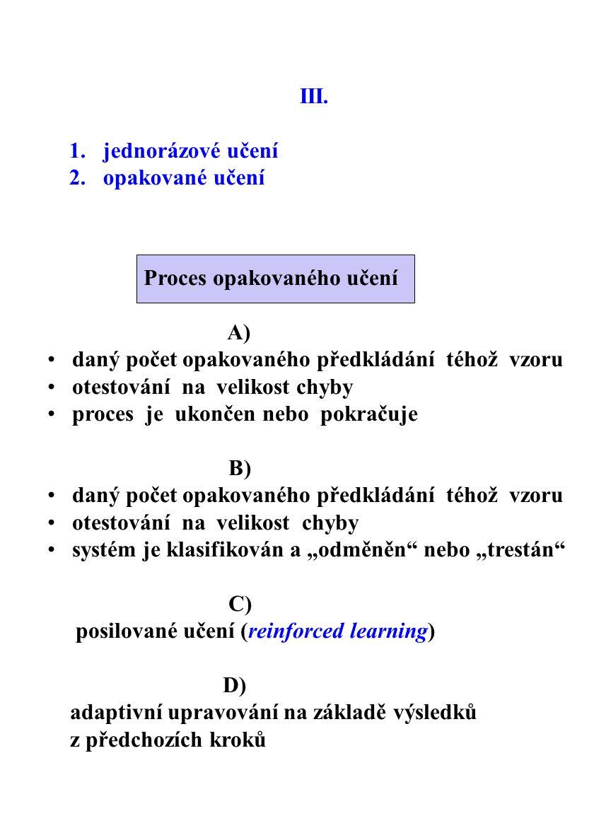 III. 1. jednorázové učení 2. opakované učení Proces opakovaného učení A) daný počet opakovaného předkládání téhož vzoru otestování na velikost chyby p
