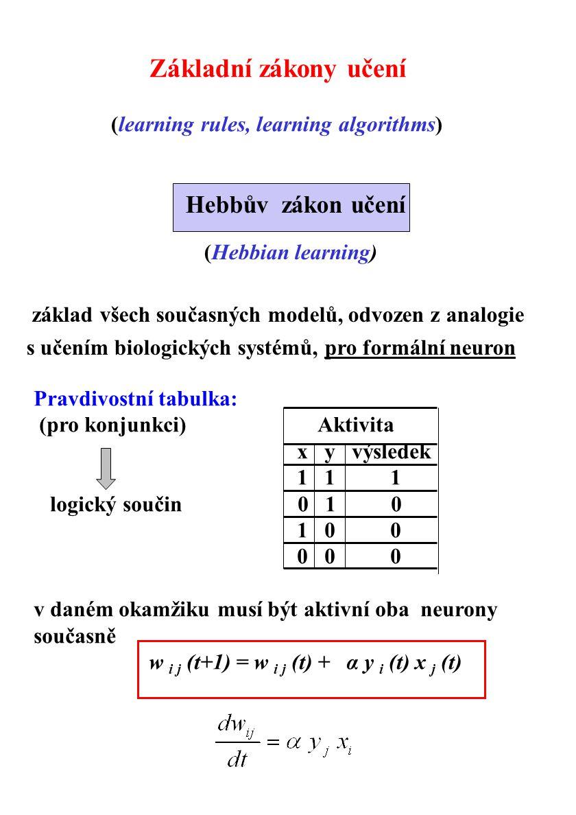 Pravdivostní tabulka: (pro konjunkci) Aktivita x y výsledek 1 1 1 logický součin 0 1 0 1 0 0 0 0 0 v daném okamžiku musí být aktivní oba neurony souča