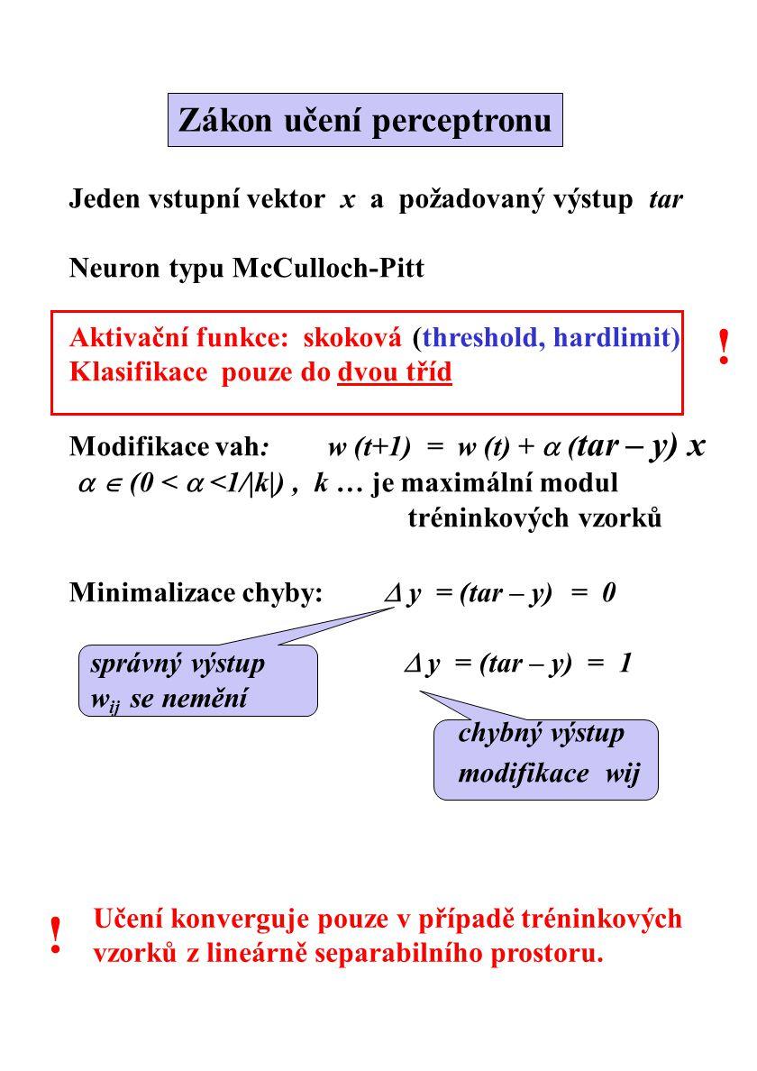 Jeden vstupní vektor x a požadovaný výstup tar Neuron typu McCulloch-Pitt Aktivační funkce: skoková (threshold, hardlimit) Klasifikace pouze do dvou t