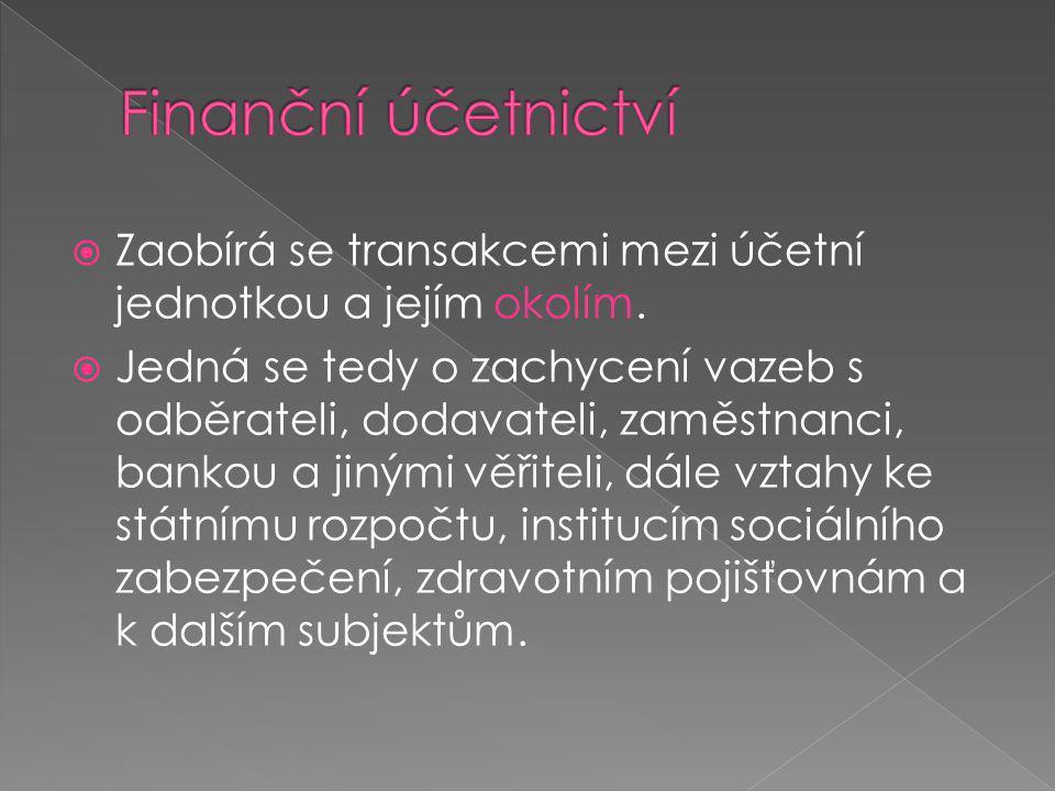  Zaobírá se transakcemi mezi účetní jednotkou a jejím okolím.