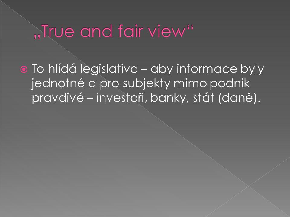  To hlídá legislativa – aby informace byly jednotné a pro subjekty mimo podnik pravdivé – investoři, banky, stát (daně).