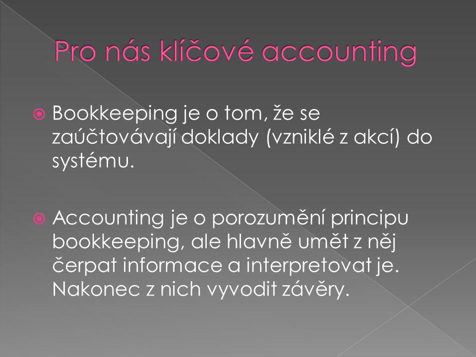 Bookkeeping je o tom, že se zaúčtovávají doklady (vzniklé z akcí) do systému.