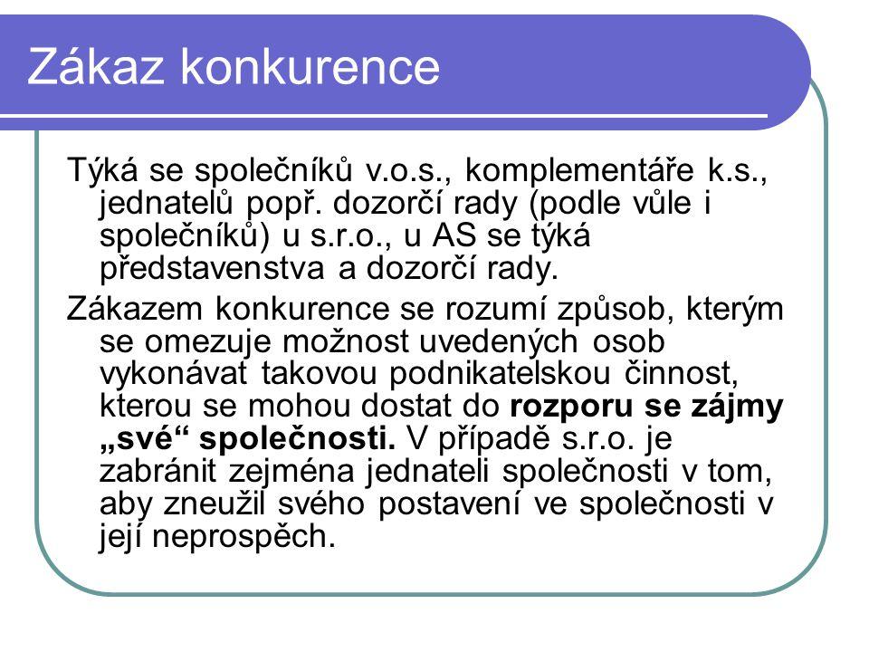 Zákaz konkurence Týká se společníků v.o.s., komplementáře k.s., jednatelů popř.