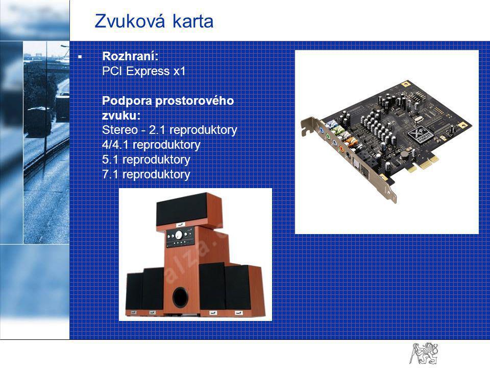 Zvuková karta  Rozhraní: PCI Express x1 Podpora prostorového zvuku: Stereo - 2.1 reproduktory 4/4.1 reproduktory 5.1 reproduktory 7.1 reproduktory