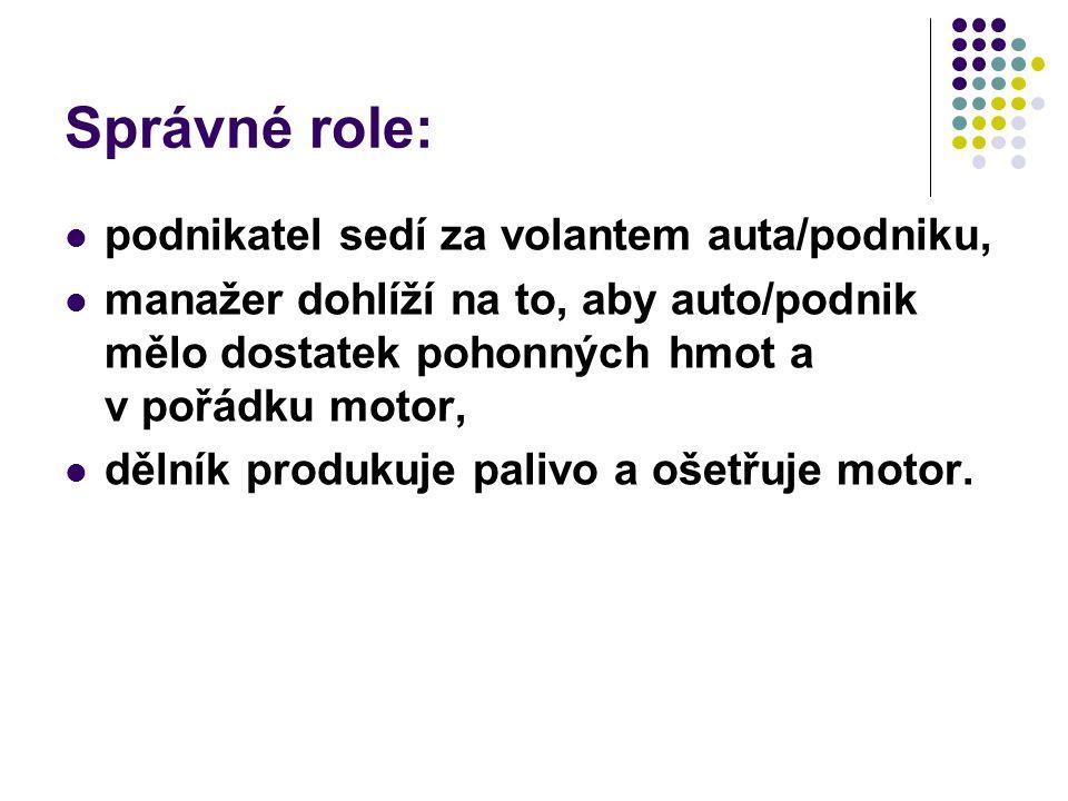 Správné role: podnikatel sedí za volantem auta/podniku, manažer dohlíží na to, aby auto/podnik mělo dostatek pohonných hmot a v pořádku motor, dělník produkuje palivo a ošetřuje motor.