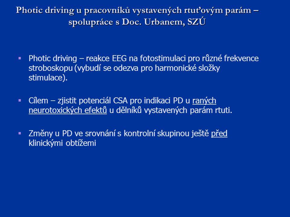 Photic driving u pracovníků vystavených rtuťovým parám – spolupráce s Doc. Urbanem, SZÚ  Photic driving – reakce EEG na fotostimulaci pro různé frekv