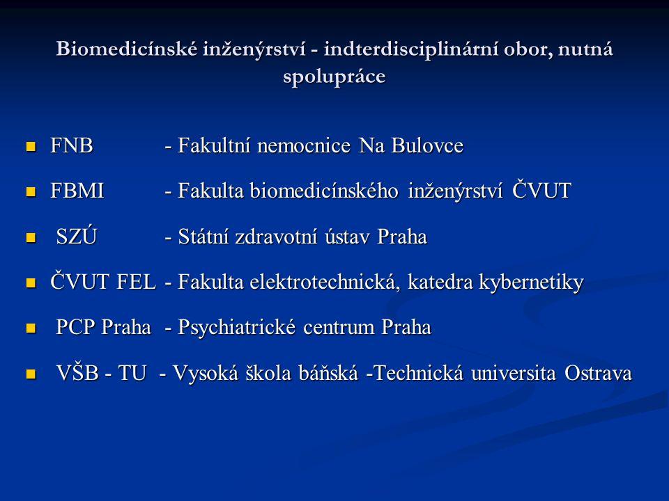 Biomedicínské inženýrství - indterdisciplinární obor, nutná spolupráce FNB - Fakultní nemocnice Na Bulovce FNB - Fakultní nemocnice Na Bulovce FBMI -