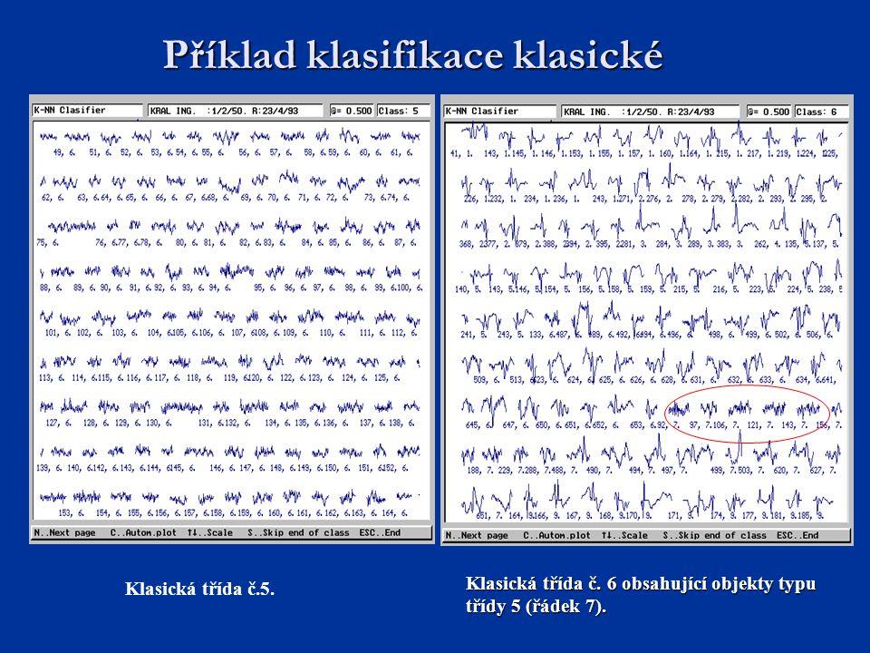 Příklad klasifikace klasické Klasická třída č. 6 obsahující objekty typu třídy 5 (řádek 7). Klasická třída č.5.