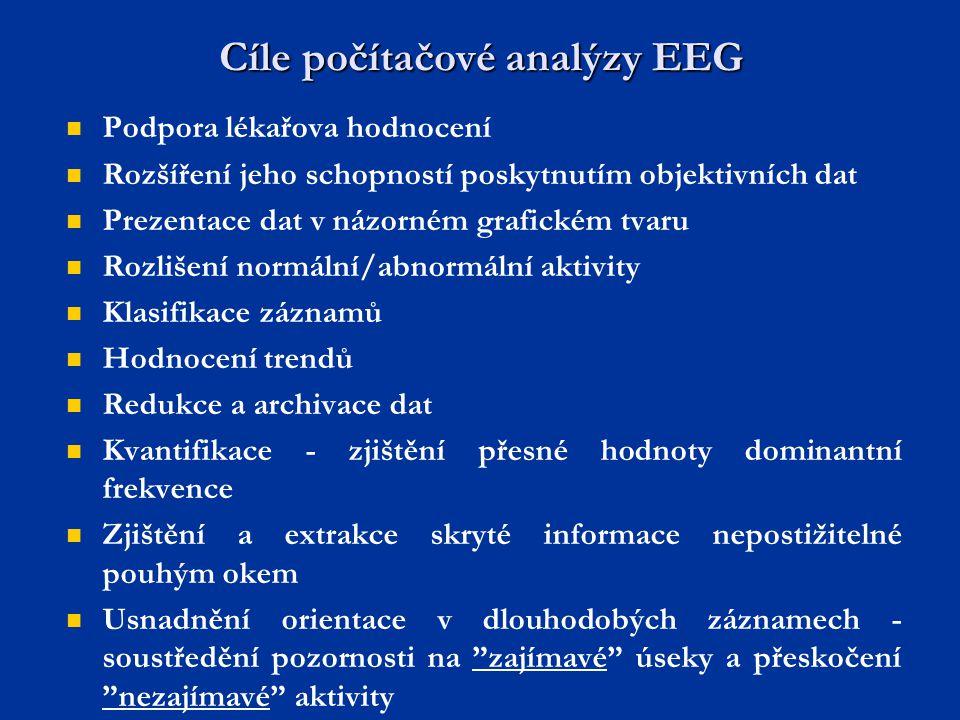 Cíle počítačové analýzy EEG Podpora lékařova hodnocení Rozšíření jeho schopností poskytnutím objektivních dat Prezentace dat v názorném grafickém tvar