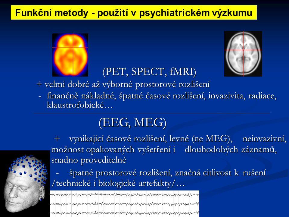(PET, SPECT, fMRI) (PET, SPECT, fMRI) + velmi dobré až výborné prostorové rozlišení -finančně nákladné, špatné časové rozlišení, invazivita, radiace,