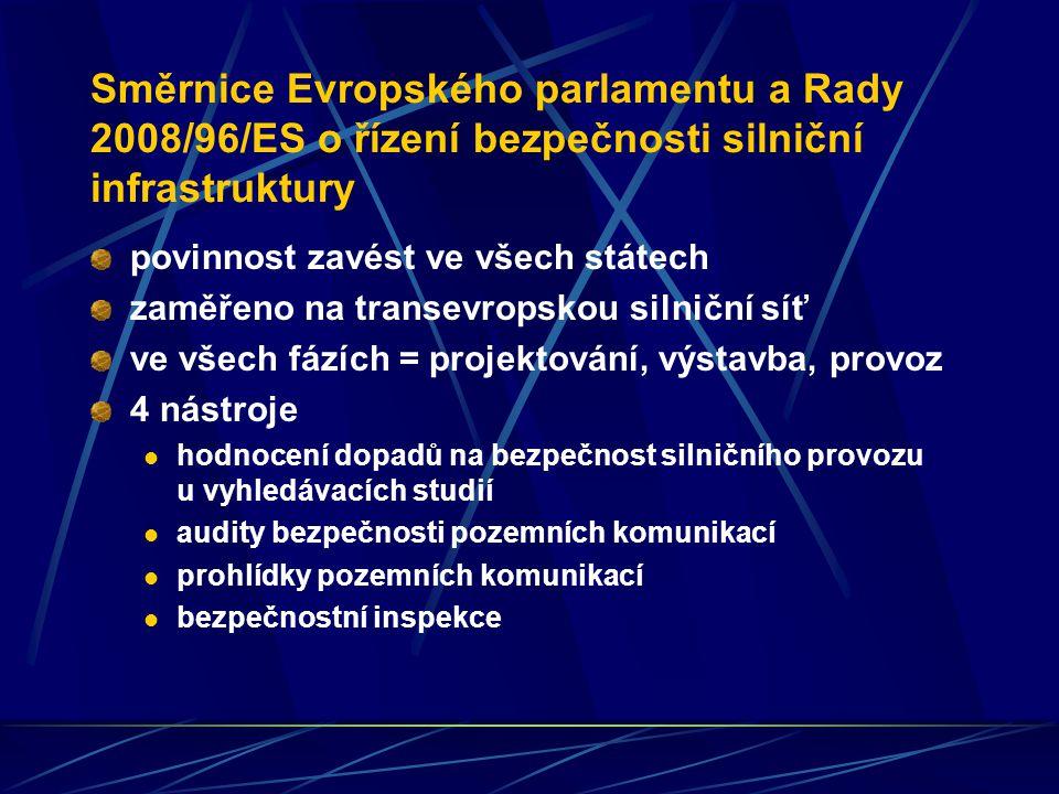 Směrnice Evropského parlamentu a Rady 2008/96/ES o řízení bezpečnosti silniční infrastruktury povinnost zavést ve všech státech zaměřeno na transevrop