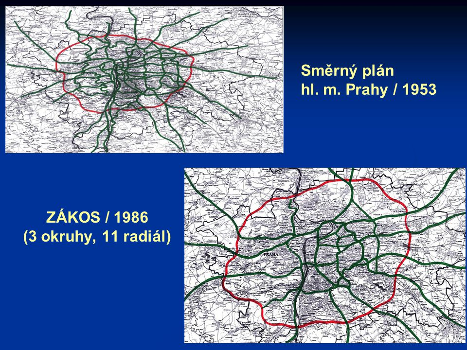 ZÁKOS / 1986 (3 okruhy, 11 radiál) Směrný plán hl. m. Prahy / 1953