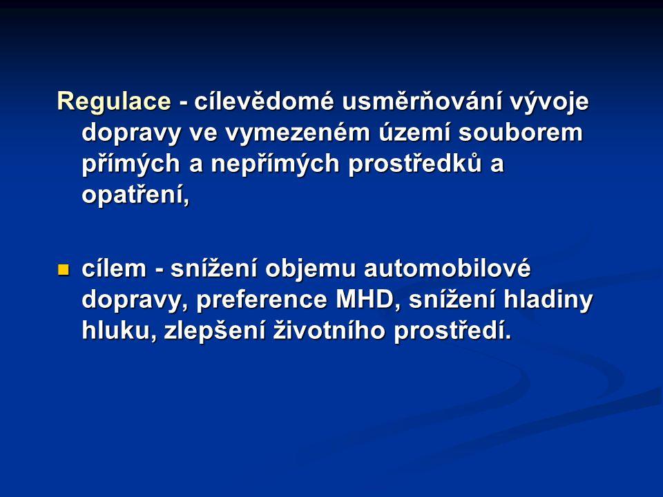 Regulace - cílevědomé usměrňování vývoje dopravy ve vymezeném území souborem přímých a nepřímých prostředků a opatření, cílem - snížení objemu automob