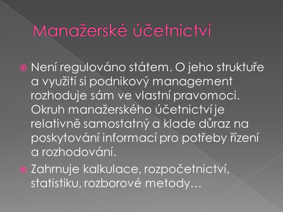  Není regulováno státem. O jeho struktuře a využití si podnikový management rozhoduje sám ve vlastní pravomoci. Okruh manažerského účetnictví je rela