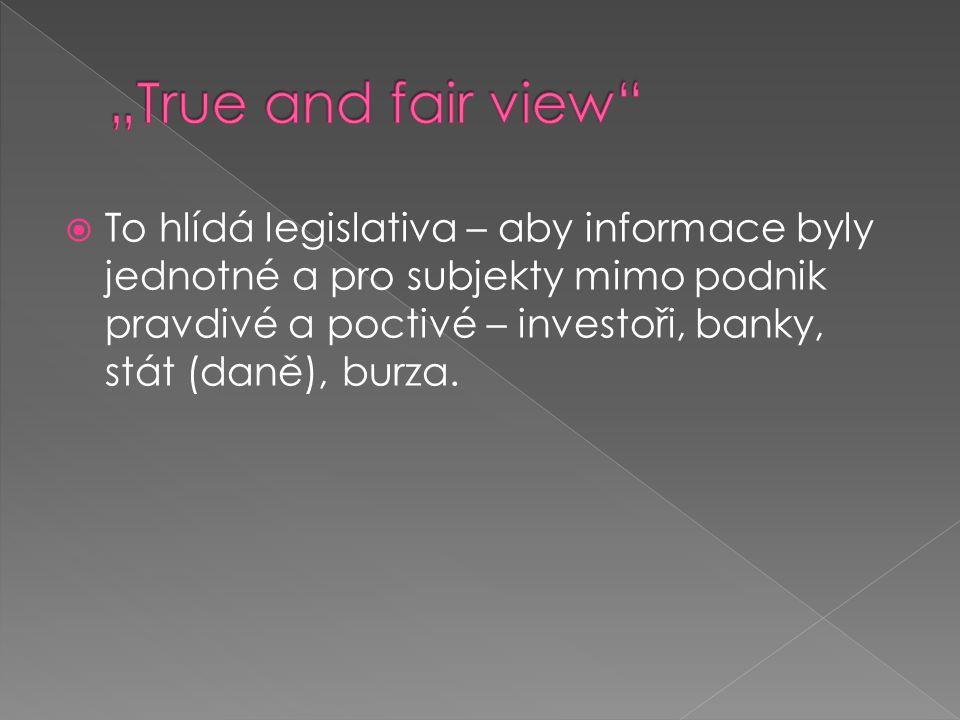  To hlídá legislativa – aby informace byly jednotné a pro subjekty mimo podnik pravdivé a poctivé – investoři, banky, stát (daně), burza.