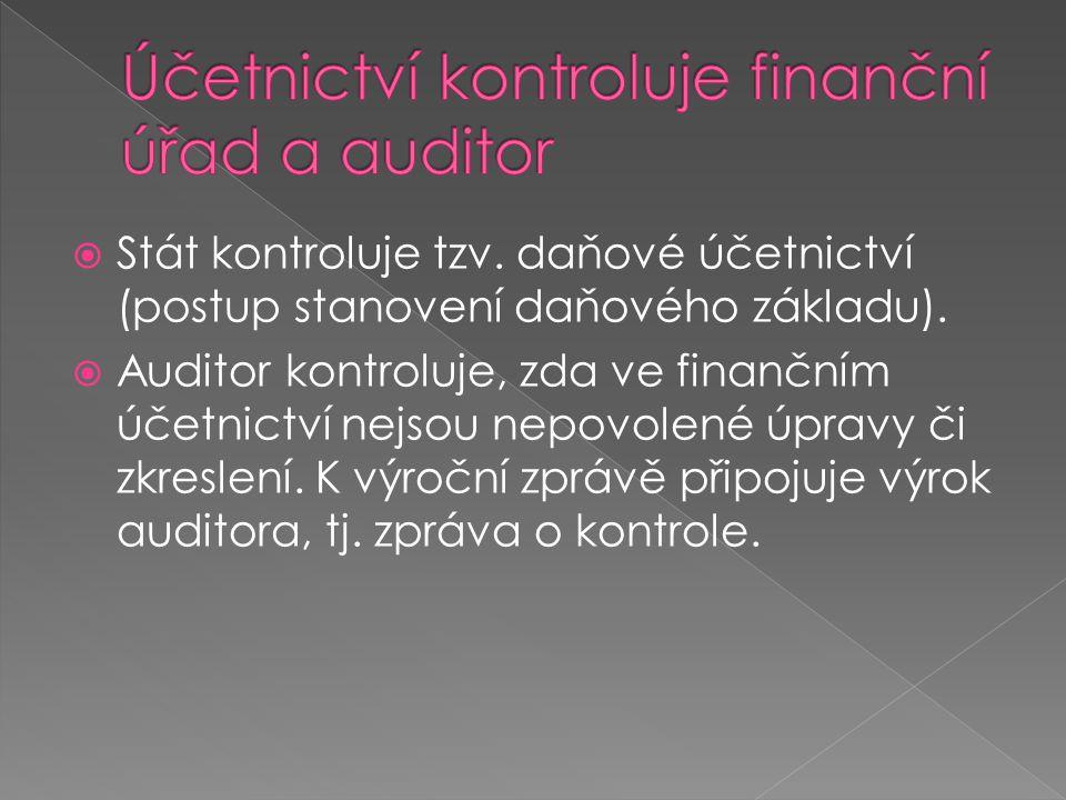  Stát kontroluje tzv. daňové účetnictví (postup stanovení daňového základu).  Auditor kontroluje, zda ve finančním účetnictví nejsou nepovolené úpra