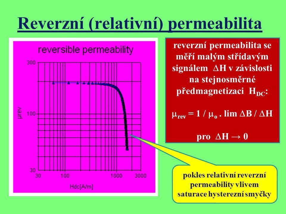 Reverzní (relativní) permeabilita reverzní permeabilita se měří malým střídavým signálem  H v závislosti na stejnosměrné předmagnetizaci H DC :  rev = 1 /  o.