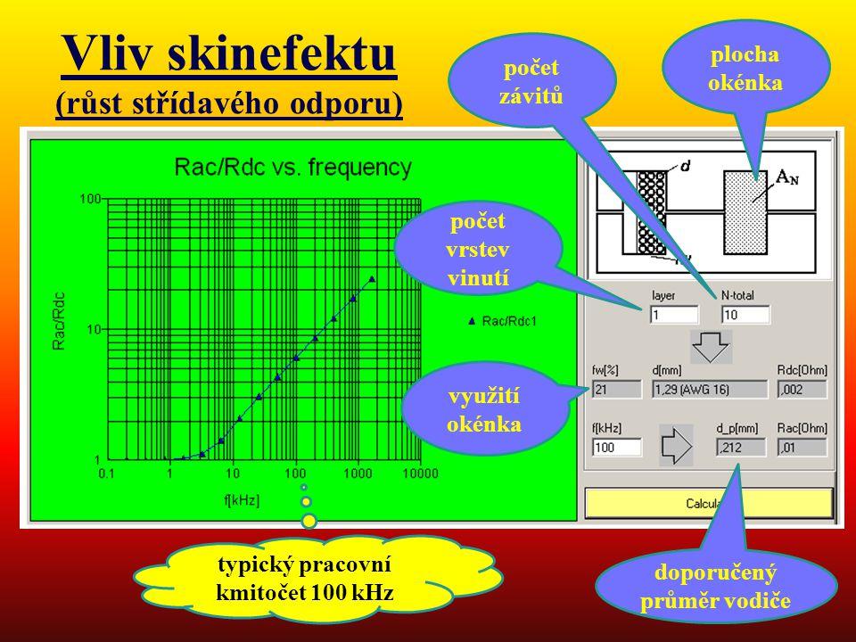 Vliv skinefektu (růst střídavého odporu) typický pracovní kmitočet 100 kHz počet vrstev vinutí doporučený průměr vodiče plocha okénka využití okénka počet závitů