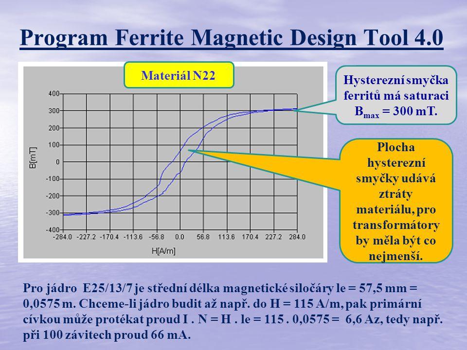 Program Ferrite Magnetic Design Tool 4.0 Hysterezní smyčka ferritů má saturaci B max = 300 mT.