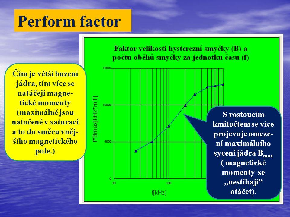 """Perform factor S rostoucím kmitočtem se více projevuje omeze- ní maximálního sycení jádra B max ( magnetické momenty se """"nestíhají otáčet)."""