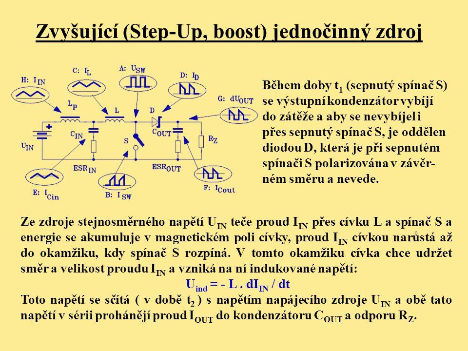 Zvyšující (Step-Up, boost) jednočinný zdroj Během doby t 1 (sepnutý spínač S) se výstupní kondenzátor vybíjí do zátěže a aby se nevybíjel i přes sepnu
