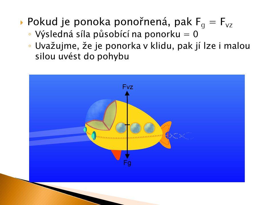  Pokud je ponoka ponořnená, pak F g = F vz ◦ Výsledná síla působící na ponorku = 0 ◦ Uvažujme, že je ponorka v klidu, pak jí lze i malou silou uvést