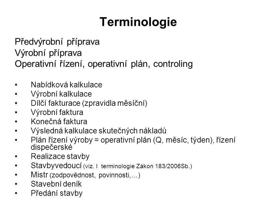 Terminologie Předvýrobní příprava Výrobní příprava Operativní řízení, operativní plán, controling Nabídková kalkulace Výrobní kalkulace Dílčí fakturac