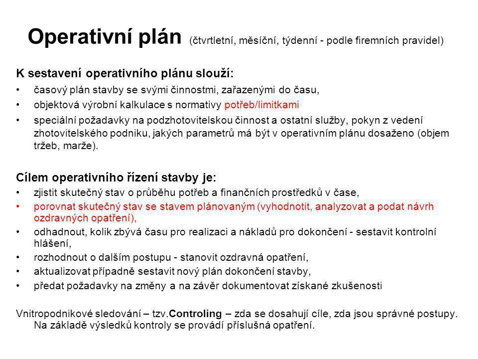 Operativní plán (čtvrtletní, měsíční, týdenní - podle firemních pravidel) K sestavení operativního plánu slouží: časový plán stavby se svými činnostmi