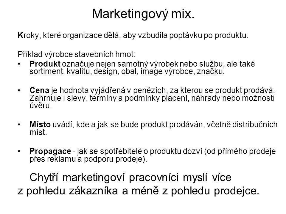 Marketingový mix. Kroky, které organizace dělá, aby vzbudila poptávku po produktu. Příklad výrobce stavebních hmot: Produkt označuje nejen samotný výr