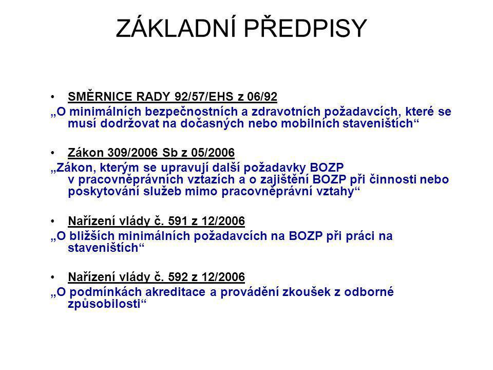 """ZÁKLADNÍ PŘEDPISY SMĚRNICE RADY 92/57/EHS z 06/92 """"O minimálních bezpečnostních a zdravotních požadavcích, které se musí dodržovat na dočasných nebo m"""