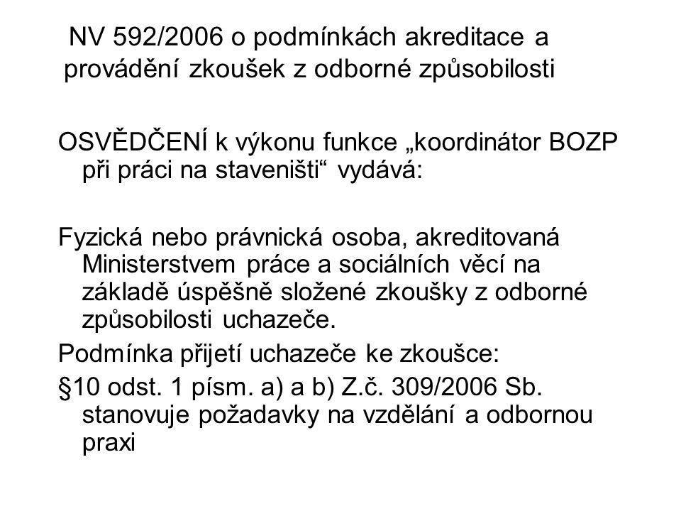 """NV 592/2006 o podmínkách akreditace a provádění zkoušek z odborné způsobilosti OSVĚDČENÍ k výkonu funkce """"koordinátor BOZP při práci na staveništi"""" vy"""