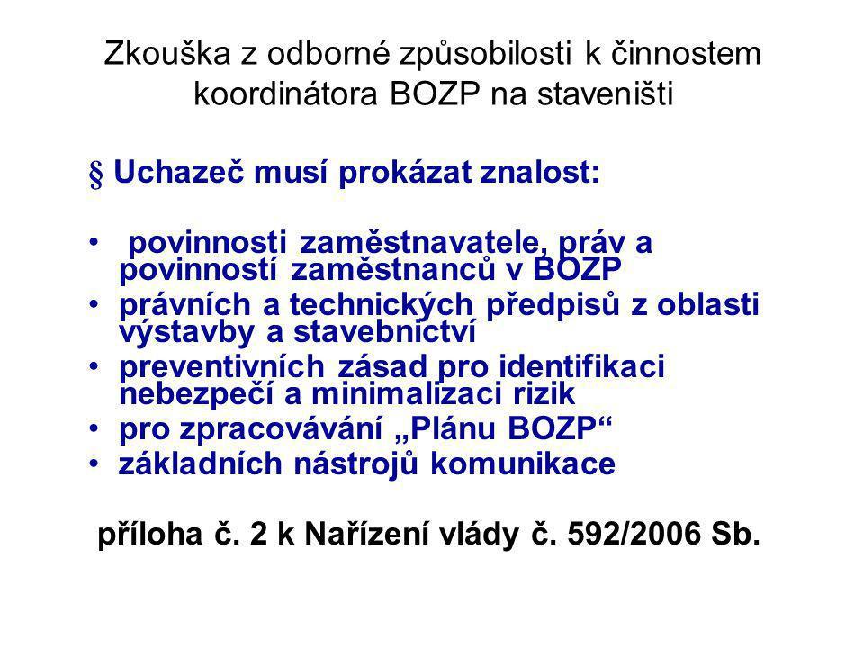 Zkouška z odborné způsobilosti k činnostem koordinátora BOZP na staveništi § Uchazeč musí prokázat znalost: povinnosti zaměstnavatele, práv a povinnos