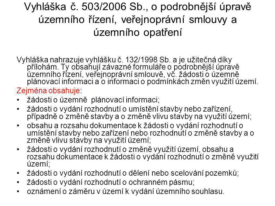 Vyhláška č. 503/2006 Sb., o podrobnější úpravě územního řízení, veřejnoprávní smlouvy a územního opatření Vyhláška nahrazuje vyhlášku č. 132/1998 Sb.