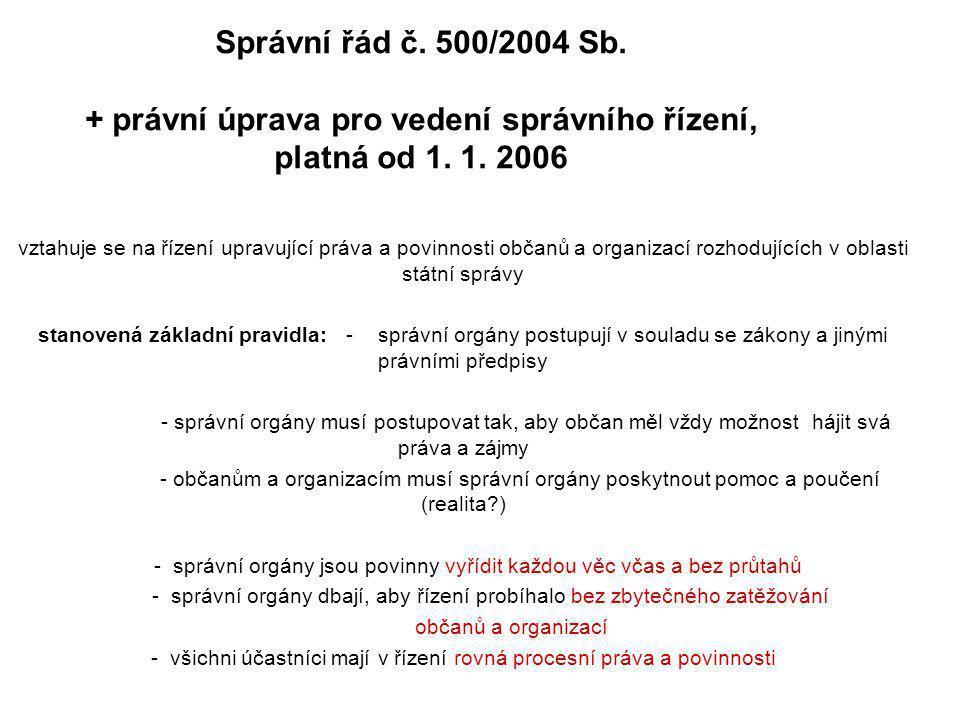 Správní řád č. 500/2004 Sb. + právní úprava pro vedení správního řízení, platná od 1. 1. 2006 vztahuje se na řízení upravující práva a povinnosti obča