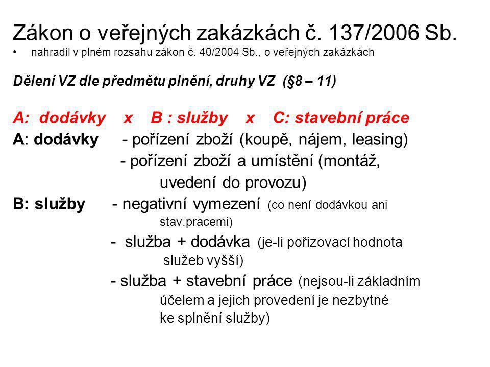 Zákon o veřejných zakázkách č. 137/2006 Sb. nahradil v plném rozsahu zákon č. 40/2004 Sb., o veřejných zakázkách Dělení VZ dle předmětu plnění, druhy