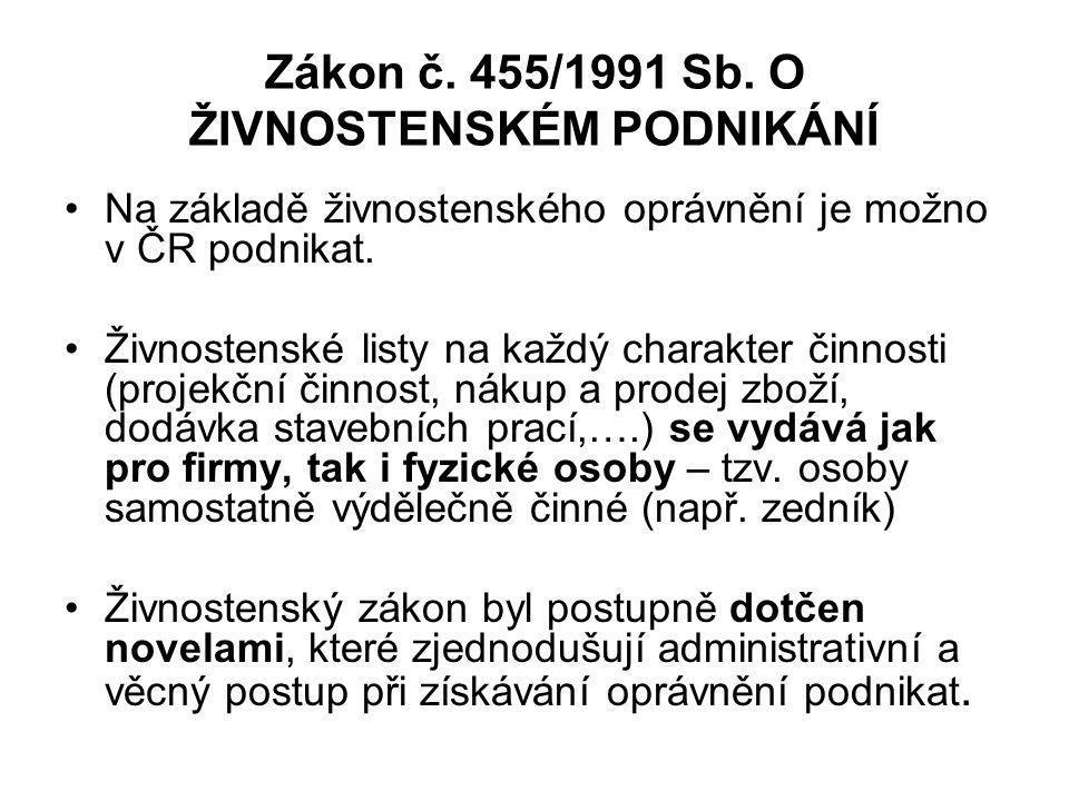 Zákon č. 455/1991 Sb. O ŽIVNOSTENSKÉM PODNIKÁNÍ Na základě živnostenského oprávnění je možno v ČR podnikat. Živnostenské listy na každý charakter činn